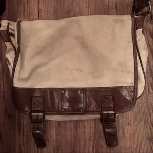 Canvas and leather fossil messenger bag